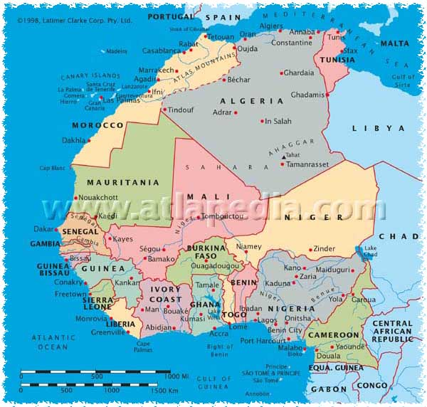morocco on map of africa West Africa And Morocco Route Maps morocco on map of africa