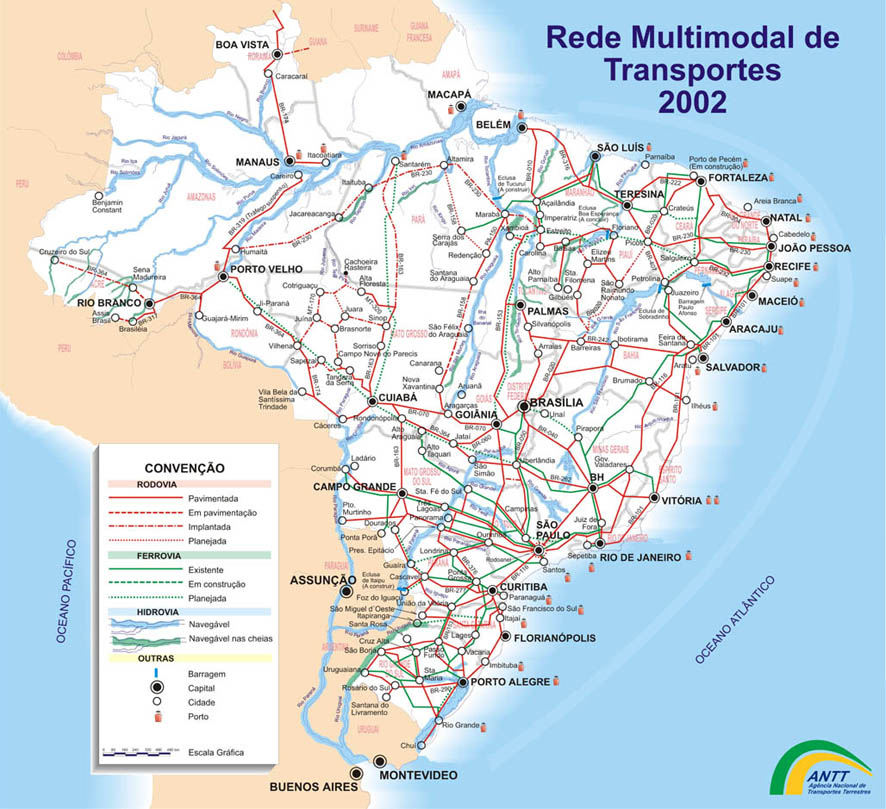 infrastructure map of brazil map of the railways in brazil