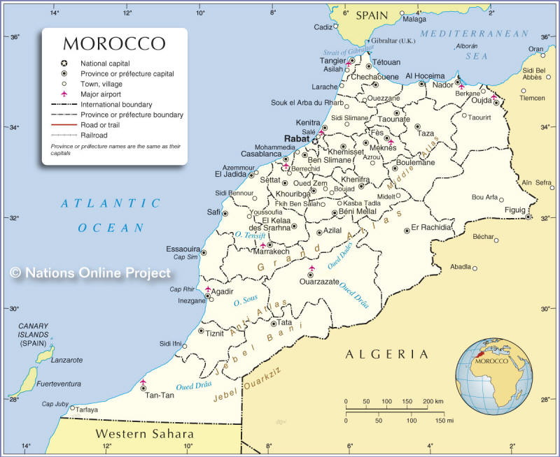 map of morocco with rivers