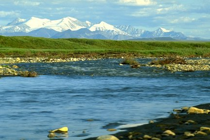 river, tundra and mountains